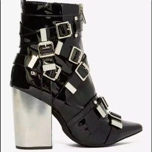 Jeffrey Campbell osprey buckle heeled bootie boot
